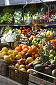 Organic fruit and vegetables in a greengrocers