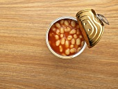 An open tin of baked beans
