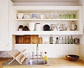 A kitchen shelf and a sink