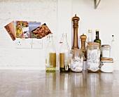 Kitchen utensils (oil, vinegar, tea bags, salt, etc)