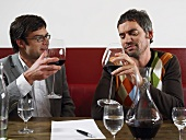 Two friends at wine tasting session