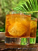 Two glasses of iced tea in front of palm leaf in open air