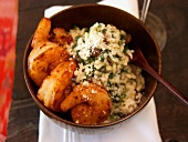 Scampi with spicy spinach risotto