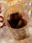 Christmas date sweets in silver basket