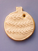 White decorated sweet pastry biscuit as Christmas bauble
