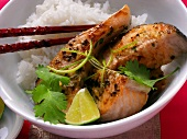 Grilled salmon cutlet with lime and rice