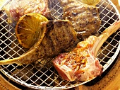 Barbecuing lamb chops