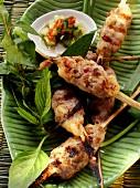 Spicy pork and shrimp kebabs