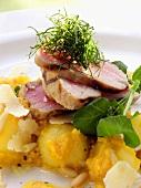 Tuna with lemon grass on potato salad