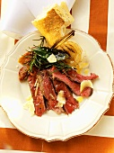 Beef steak with herbs, parmesan and white bread