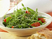 Cress salad with tomatoes and bacon
