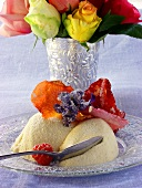 Bavarois with candied flowers; bouquet of roses