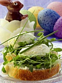 Cream cheese sandwich with cress; wax Easter Bunny; Easter eggs