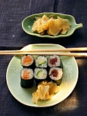 Maki sushi with ginger