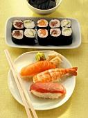 Nigiri sushi and Maki sushi