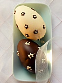 White and brown chocolate Easter egg