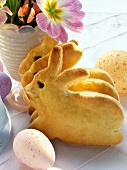 Easter Bunny in bread dough and coloured eggs