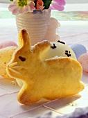Easter Bunny in bread dough, Easter eggs & flower vase
