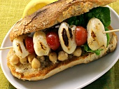 Mediterranean sandwich with cuttlefish and chick peas