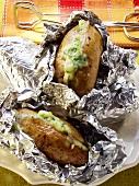 Baked Potatoes mit Kräuterfrischkäse