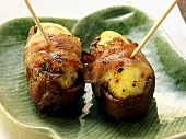 Bacon-wrapped dates with cream cheese stuffing