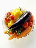 Various types of vegetables on plate