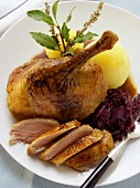 Duck with red cabbage, potato dumpling, bay leaf & mugwort