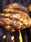 Barbecued chicken breast with bones