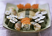 Assorted Nigiri sushi and Maki sushi on platter