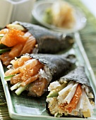 Assorted Temaki sushi with salmon and crabmeat