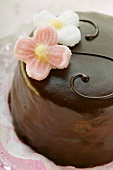 Sacher torte with sugar flowers (detail)
