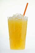 Orange juice with crushed ice and straw in plastic tumbler