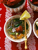 Chinese hot and sour soup with glass noodles
