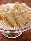 Parmesan hearts on glass plate