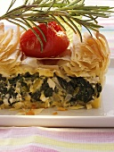 Puff pastry spinach pie with sheep's cheese & tomato