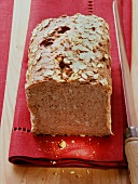 Wholemeal bread with oat flakes on red napkin; knife
