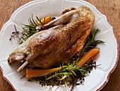 Roast wild duck with herbs and carrots
