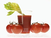 Tomato juice in plastic tumbler with celery; tomatoes
