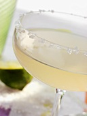 Caipirinha in glass with sugared rim (close-up)