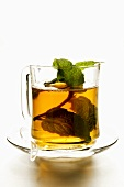 Peppermint tea with sprig of fresh mint
