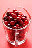 Cranberries in glass jug