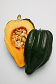 Acorn squash with seeds, halved