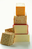 Various types of cheese, in a pile; cracker