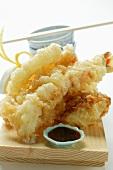 Shrimp and vegetable tempura; soy sauce