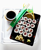 Maki sushi with soy sauce to go