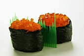 Gunkan maki with two sorts of caviare
