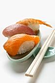 Nigiri sushi with salmon, tuna and shrimp