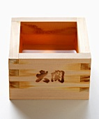 Square wooden sake bowl