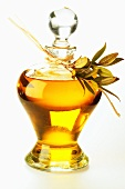 Olive oil in carafe with olive twig