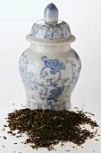 Dry tea with tea caddy